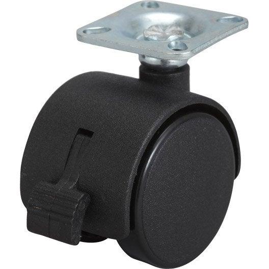 Roulette pivotante avec frein platine pour ameublement - Roulette pour meuble avec frein ...