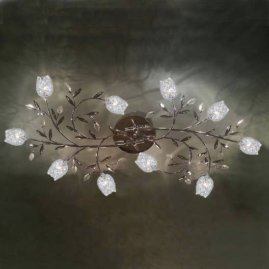 plafonnier g4 adriana m tal chrome 10 x 20 w seynave leroy merlin. Black Bedroom Furniture Sets. Home Design Ideas