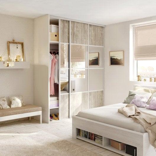 porte de placard coulissante effet bois nacr miroir spaceo x cm leroy merlin. Black Bedroom Furniture Sets. Home Design Ideas