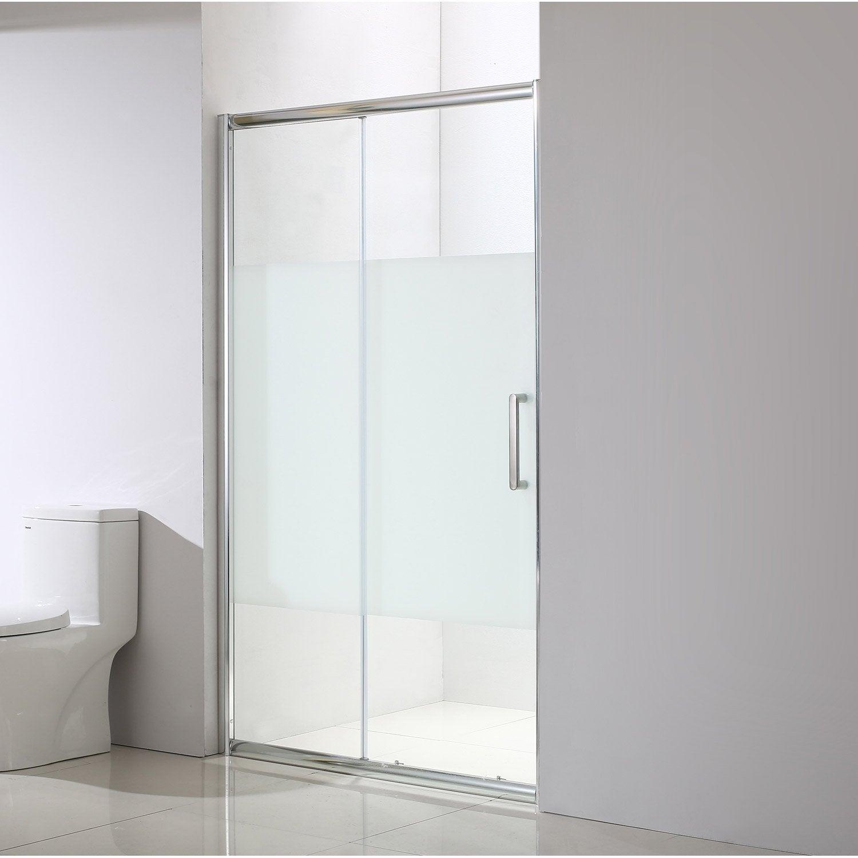 Porte de douche coulissante 100 cm, sérigraphié, Quad | Leroy Merlin