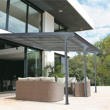 Tonnelle adossée atlantis, aluminium gris clair, 14 m²