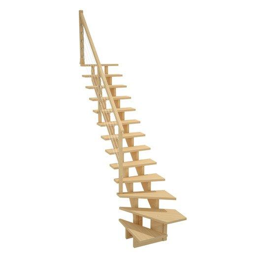 Escalier quart tournant bas droit allure c ble structure bois marche bois l - Escalier quart tournant droit ...
