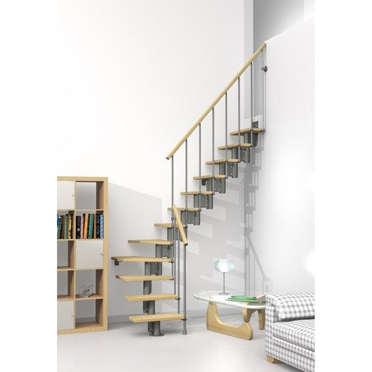 escalier quart tournant strong structure m tal marche bois leroy merlin. Black Bedroom Furniture Sets. Home Design Ideas