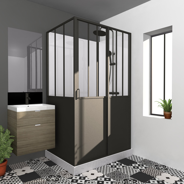 Cabine de douche rectangulaire x cm noir - Cabine douche rectangulaire 120 x 90 ...