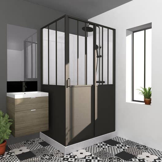 cabine de douche rectangulaire x cm noir atelier leroy merlin. Black Bedroom Furniture Sets. Home Design Ideas