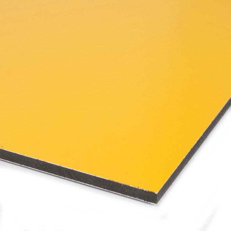 Plaque Pvc Expansé Composite Aluminium Jaune Lisse L200 X L100 Cm Ep3 Mm