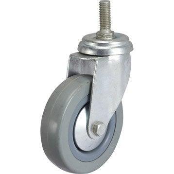 Roulette pivotante à tige filetée, Diam.100 mm