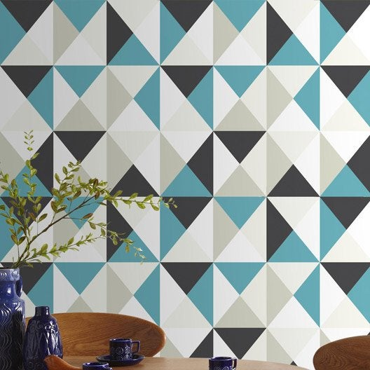 Papier peint intiss polygone bleu leroy merlin - Papier peint vinyle expanse ...
