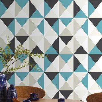 Papier peint intissé Polygone bleu