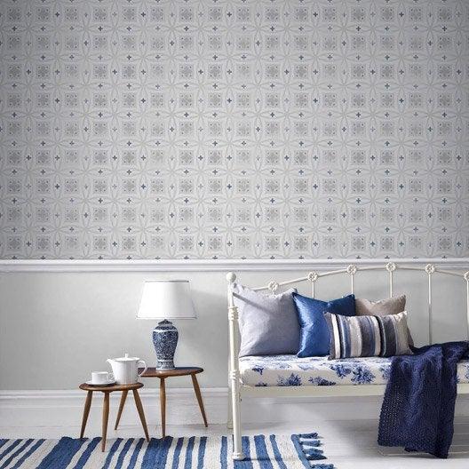 papier peint intiss carreaux de ciment bleu leroy merlin. Black Bedroom Furniture Sets. Home Design Ideas
