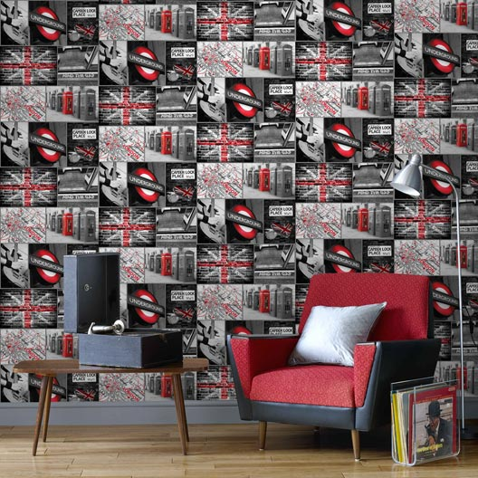 papier peint papier london travel rouge leroy merlin. Black Bedroom Furniture Sets. Home Design Ideas