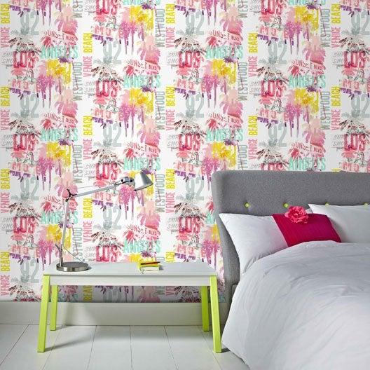 Papier peint papier venice beach multicouleur leroy merlin - Installer du papier peint ...