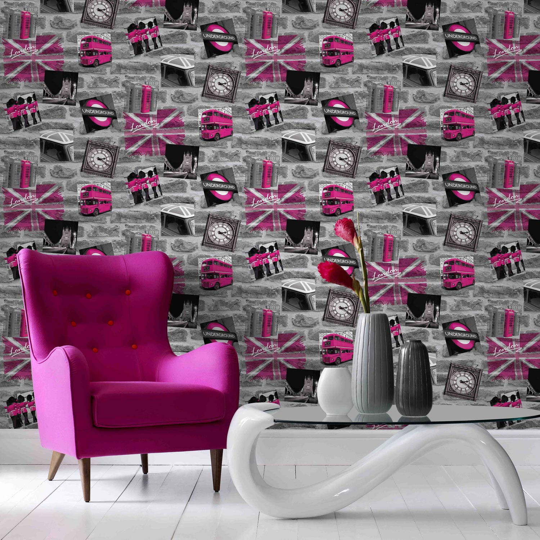 papier peint papier london tag rose leroy merlin. Black Bedroom Furniture Sets. Home Design Ideas