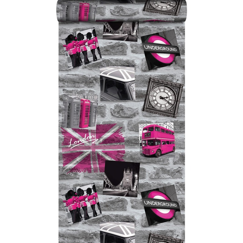 Decoration Londres Rose : Papier peint london tag rose leroy merlin