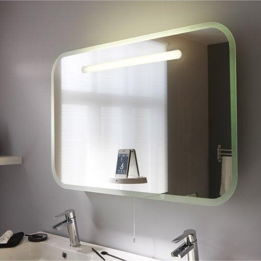 Miroir lumineux eclairage int gr x cm music - Miroir lumineux leroy merlin ...