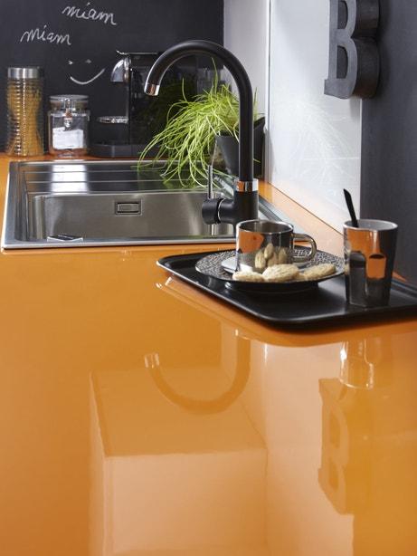Plan de travail cuisine orange