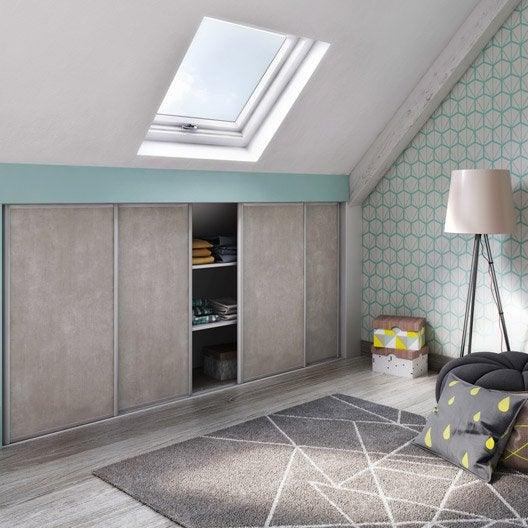porte de placard coulissante effet b ton spaceo x cm leroy merlin. Black Bedroom Furniture Sets. Home Design Ideas