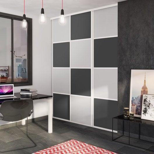 Porte de placard coulissante gris galet gris graphite for Montage porte de placard coulissante