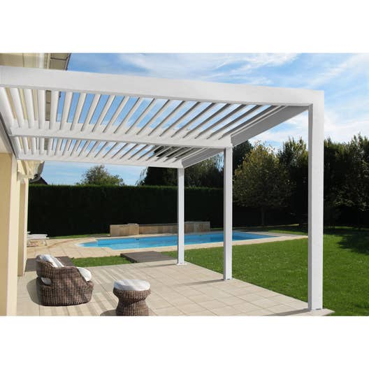 pergola adoss e orient aluminium blanche 18 m leroy merlin. Black Bedroom Furniture Sets. Home Design Ideas