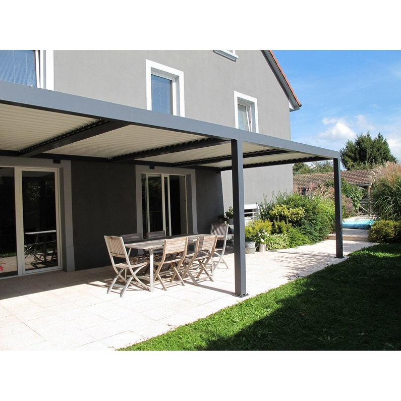 pergola adoss e orient aluminium gris anthracite 18 m leroy merlin. Black Bedroom Furniture Sets. Home Design Ideas