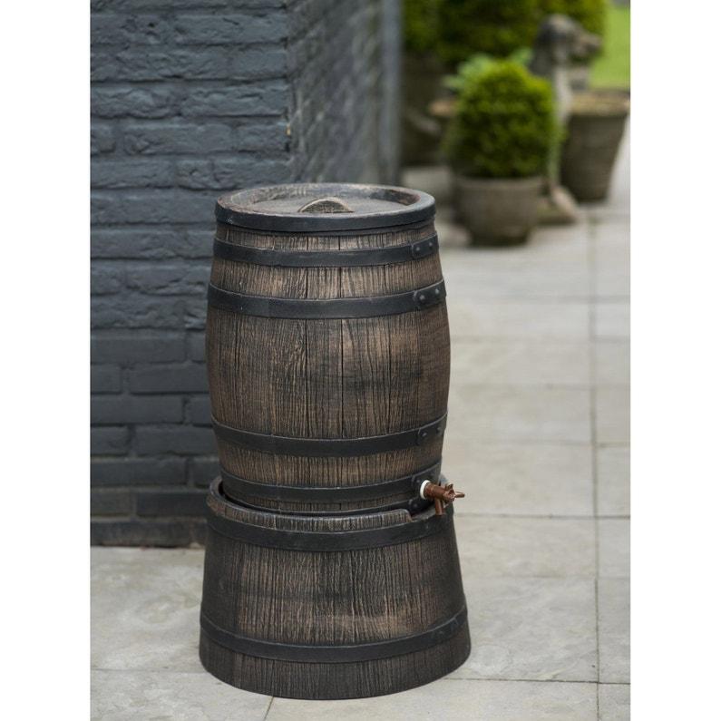 Socle pour récupérateur D\'eau en forme de barrique, brun - h30 x ø57 cm