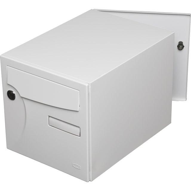 Boîte Aux Lettres Normalisée 2 Portes Extérieur Renz Acier Blanc Brillant