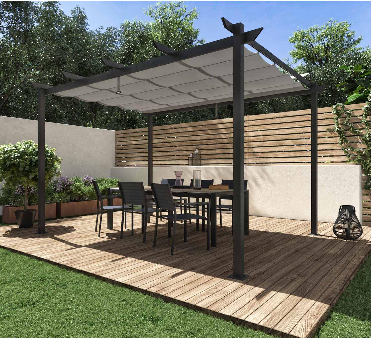 Pergola Bois Et Fer pergola autoportante omega, acier et aluminium gris anthracite, 8.31 m²
