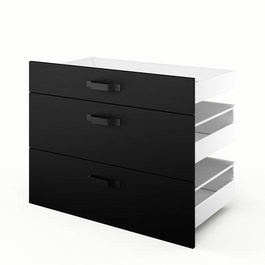 3 tiroirs de cuisine noir 3d90 mat edition l90xh70xp55 cm leroy merlin. Black Bedroom Furniture Sets. Home Design Ideas