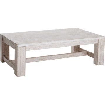 Table basse Vintage rectangulaire blanchi 4 personnes