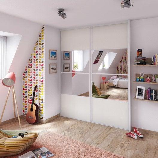 Porte de placard coulissante effet fr ne blanc miroir for Porte coulissante 60 x 250