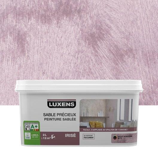 Peinture effet sable pr cieux luxens violet aubergine 5 2 l leroy merlin for Peinture violet aubergine