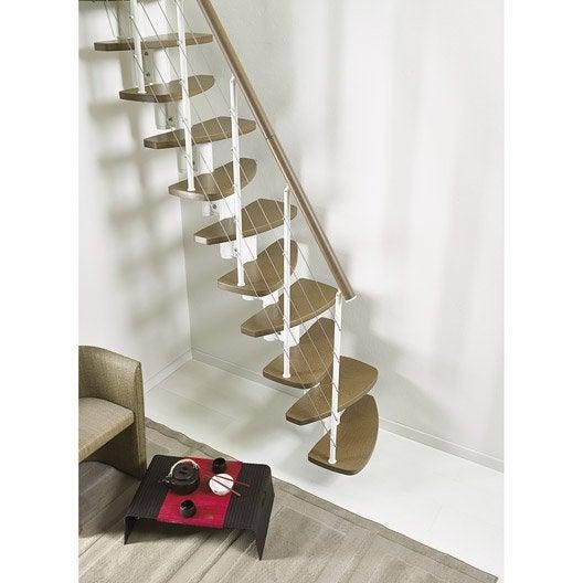Escalier droit zen structure m tal marche bois leroy merlin for Type d escalier interieur