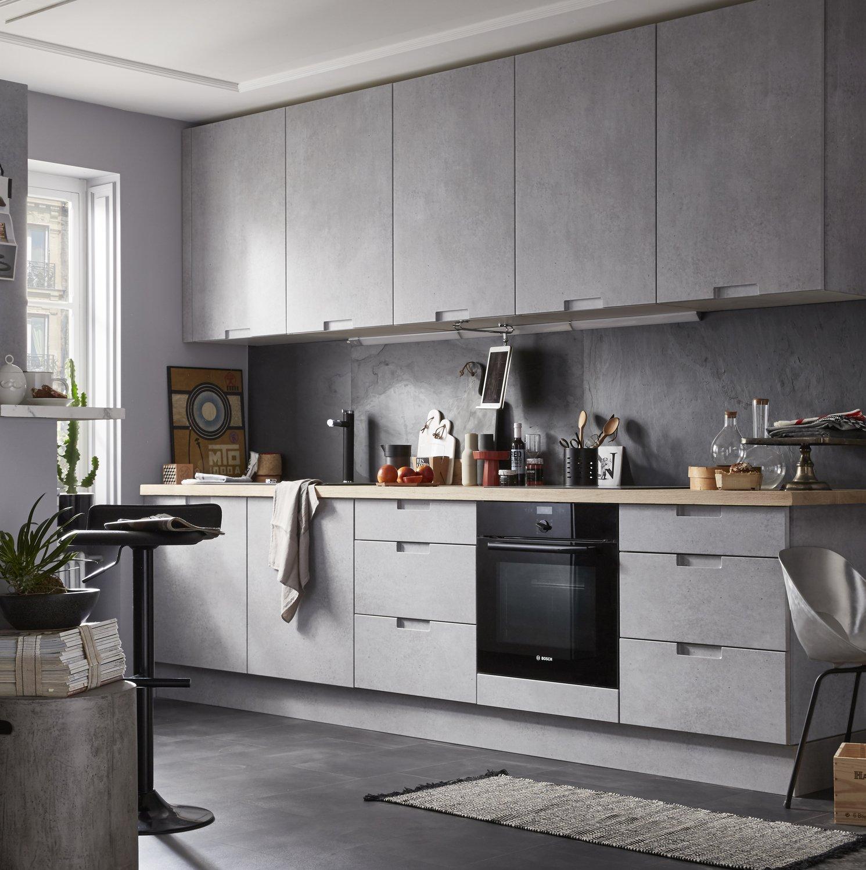 Meuble Cuisine Noir Pas Cher un effet béton pour vos meubles de cuisine | leroy merlin