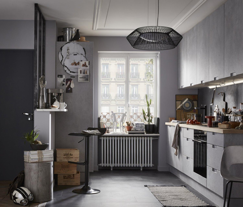 une cuisine grise de type industriel leroy merlin. Black Bedroom Furniture Sets. Home Design Ideas