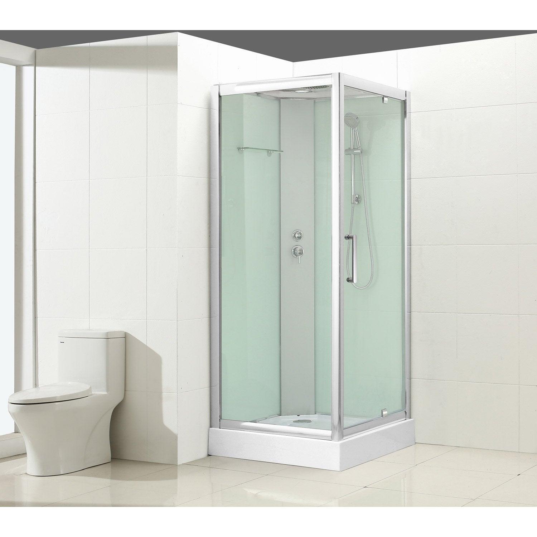 cabine de douche carré l.90 x l.90 cm, verre transparent, quad