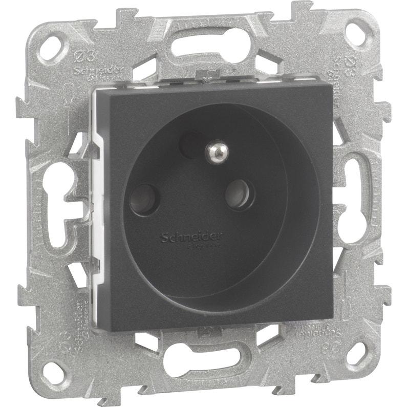 Prise Avec Terre Unica Schneider Electric Anthracite