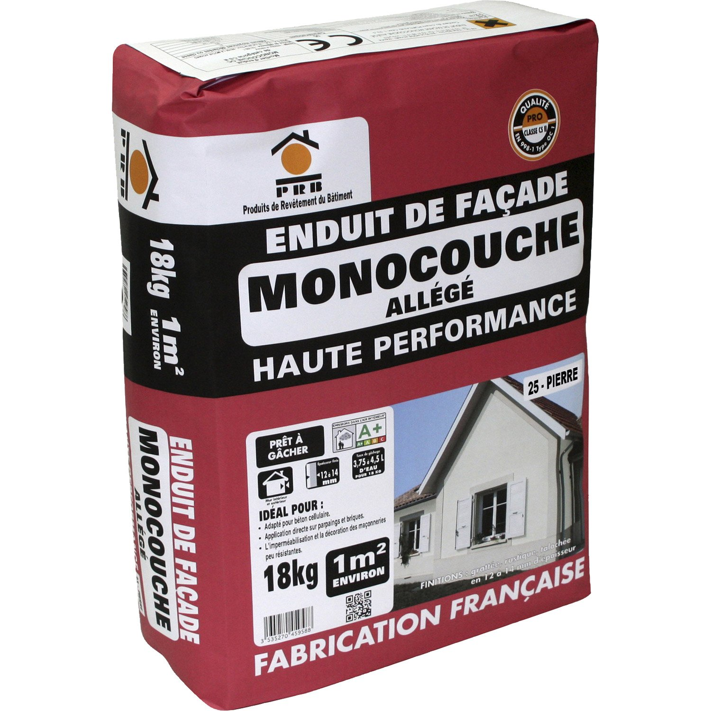 Enduit Haute Performance Ton Pierre PRB Kg Leroy Merlin - Enduit exterieur beton cellulaire
