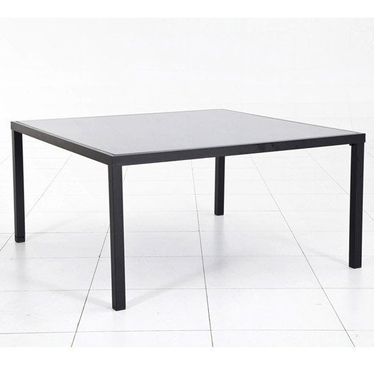 Table de jardin piazza carr e noire 6 personnes leroy merlin for Table extensible leroy merlin