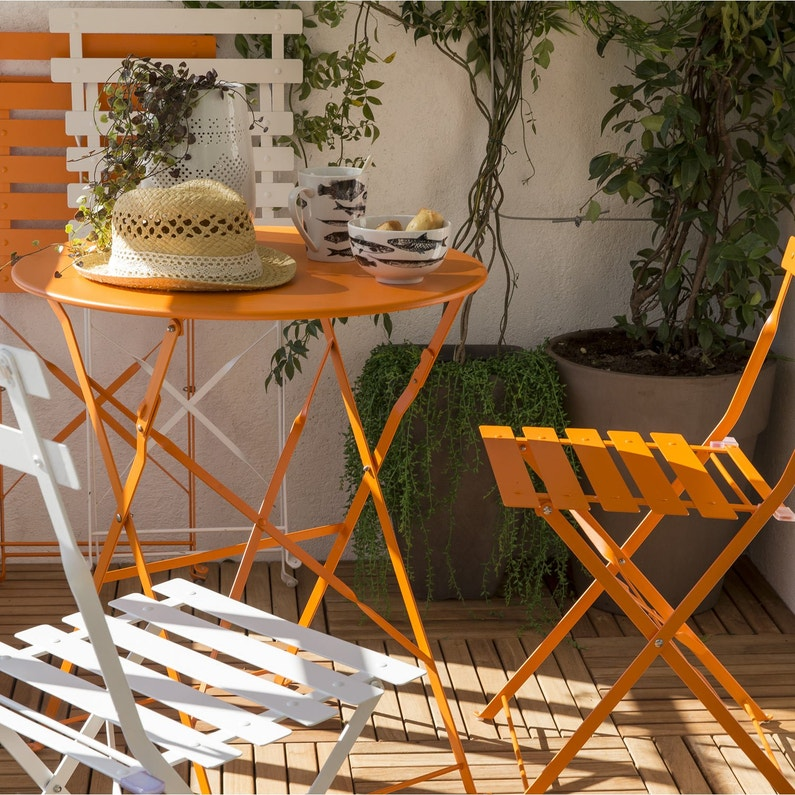 Table de jardin naterial flore ronde orange 2 personnes leroy merlin - Table de jardin ronde robin naterial ...