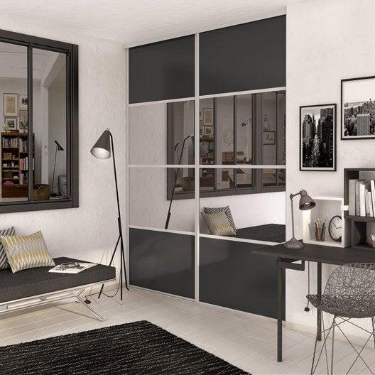 Porte de placard coulissante gris graphite miroir spaceo x cm - Porte dressing miroir ...