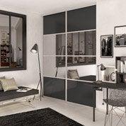 Porte de placard coulissante gris graphite / miroir SPACEO l.98.7 x H.250 cm