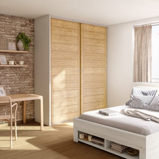 porte de placard coulissante effet ch ne naturel spaceo x cm leroy merlin. Black Bedroom Furniture Sets. Home Design Ideas