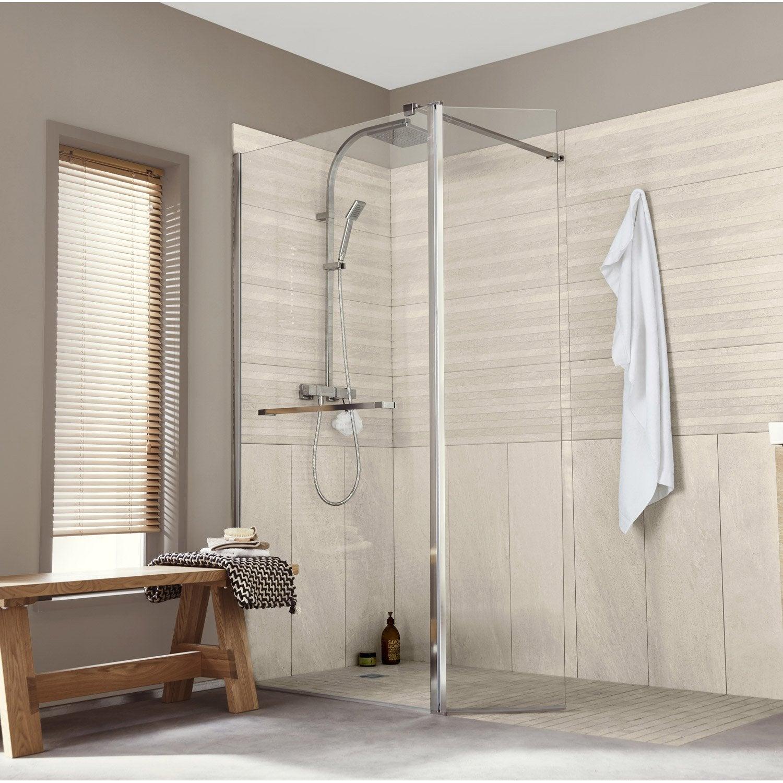 paroi de douche l 39 italienne cm verre transparent 8 mm cube leroy merlin. Black Bedroom Furniture Sets. Home Design Ideas