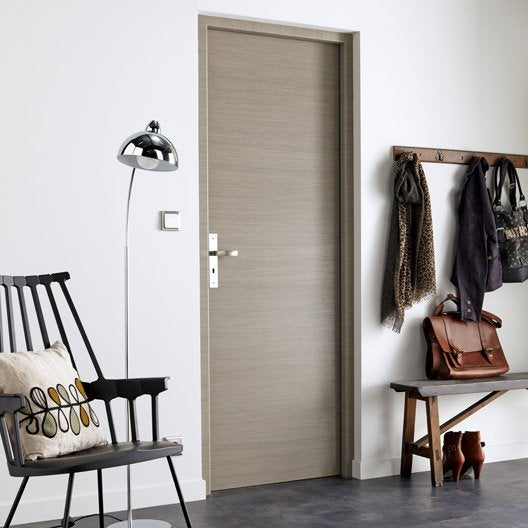 Bloc porte m dium mdf rev tu d cor ch ne fum londres h for Porte interieur renovation leroy merlin