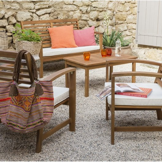 Salon bas de jardin acacia bois marron 1 table 1 banc 2 for Salon jardin bois