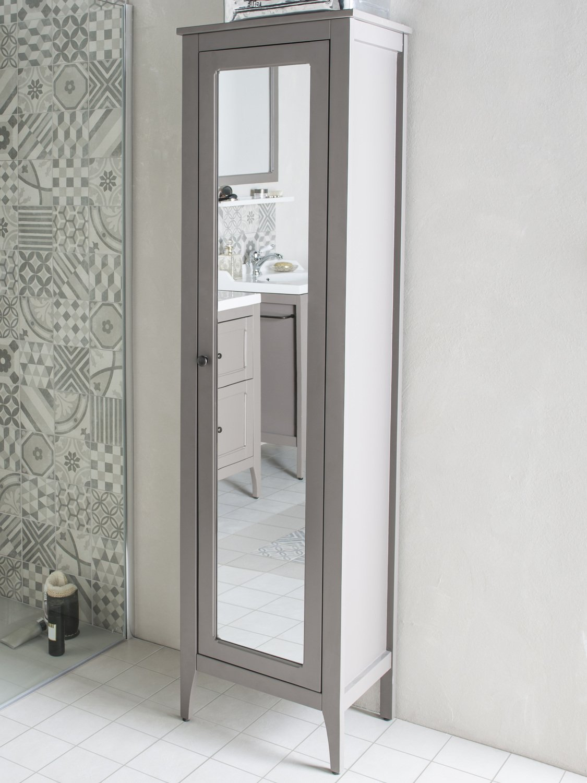 Un rangement en colonne avec son miroir pour la salle de bains de style vintage leroy merlin - Colonne salle de bain avec miroir ...