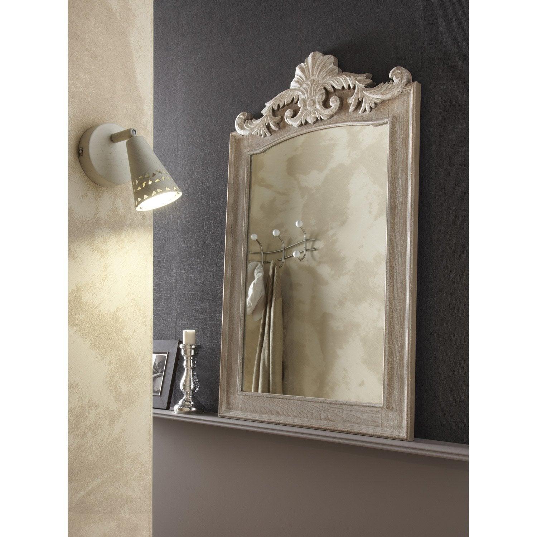 Miroir rectangulaire Lanwood trumeau, gris, l.49 x H.74 cm