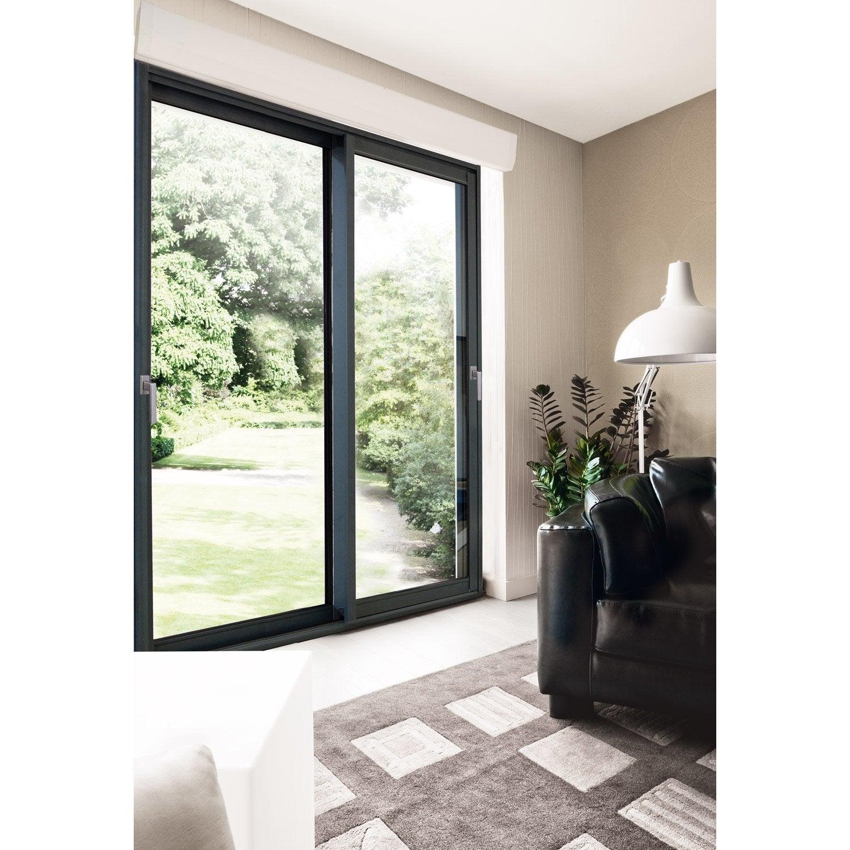 baie vitrée aluminium avec volet roulant brico premium, h.215 x l