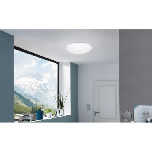 Plafonnier Design Connecté Led Intégrée Giron Plastique Blanc Eglo