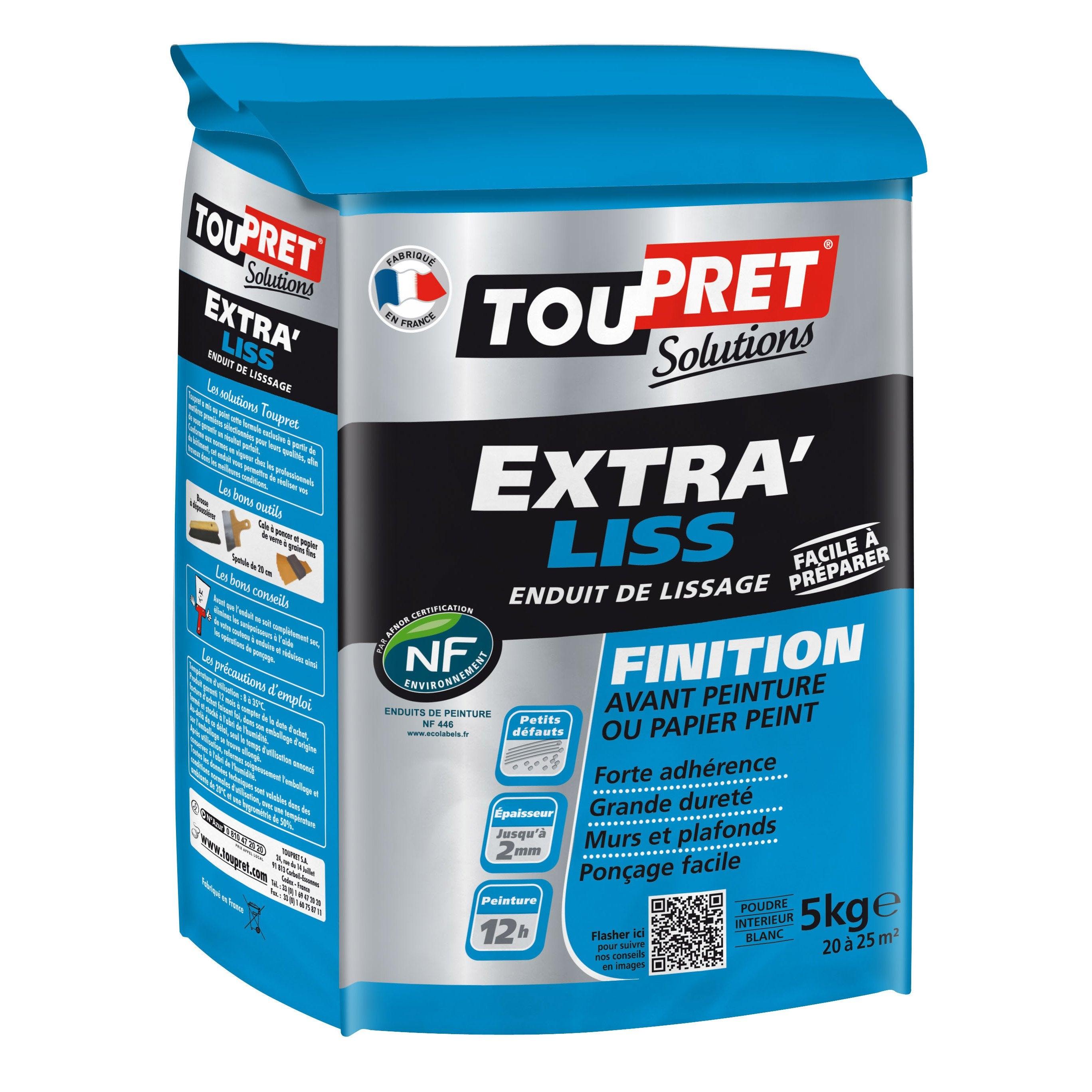 Toile À Enduire Plafond enduit de lissage toupret extra liss 5 kg en poudre, pour mur et plafond
